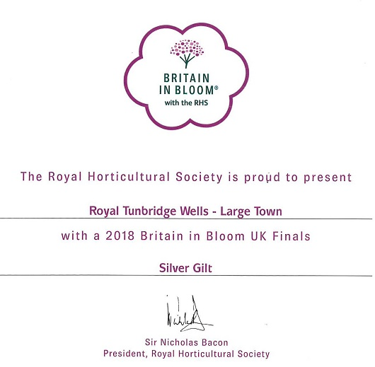 Royal Tunbridge Wells in Bloom - Britain in Bloom 2018 - Silver Gilt