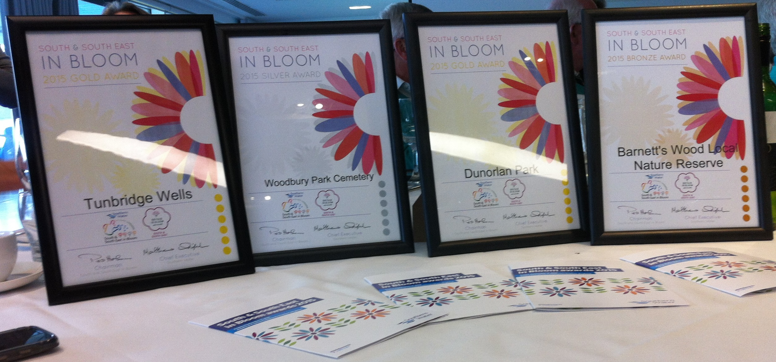 Royal Tunbridge Wells in Bloom awards certificates (KM/2015)