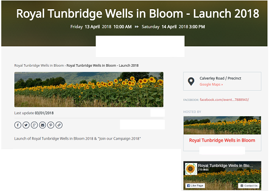 Royal Tunbridge Wells in Bloom - launch event 2018 - Evensi listing