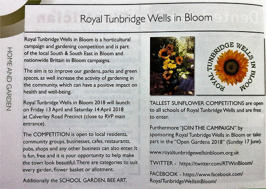 Royal Tunbridge Wells in Bloom - The Town Crier April 2018